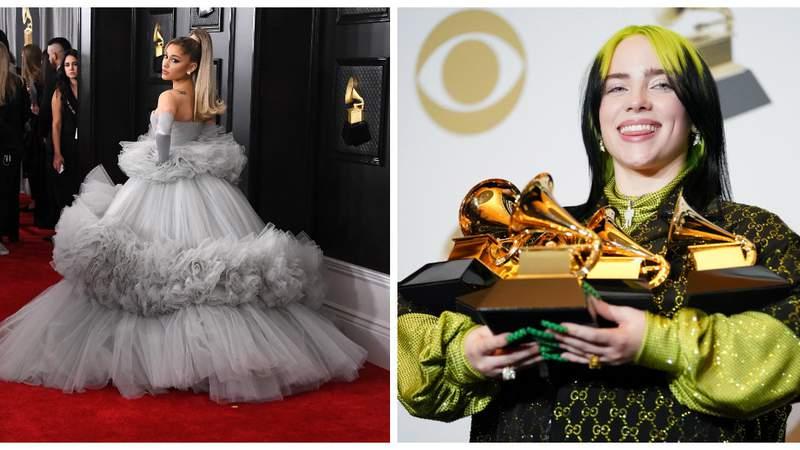 Ariana Grande and Billie Eilish at the Grammy Awards.