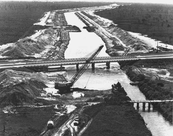 The U.S. Commerce Department image documented construction of the Cross Florida Barge Canal in the 1960s.