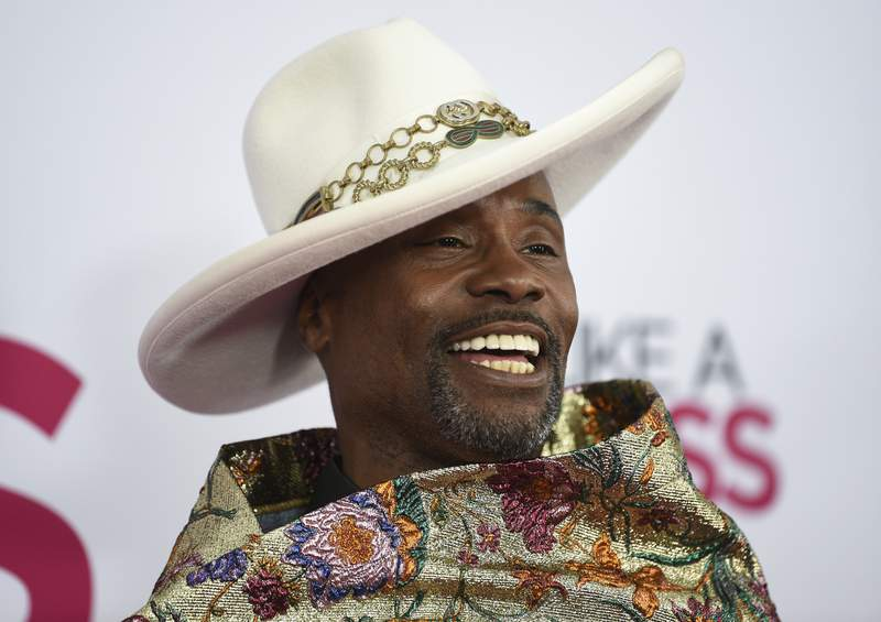 """FILE - In this Jan. 7, 2020 file photo, actor Billy Porter attends the world premiere of """"Like a Boss"""" at the SVA Theatre in New York. Porter will join Ryan Seacrest and Lucy Hale on ABC in Times Square on Dec. 31 for """"Dick Clarks New Years Rockin Eve with Ryan Seacrest 2020. The broadcast is closed to the public due to the pandemic.  (Photo by Evan Agostini/Invision/AP, File)"""