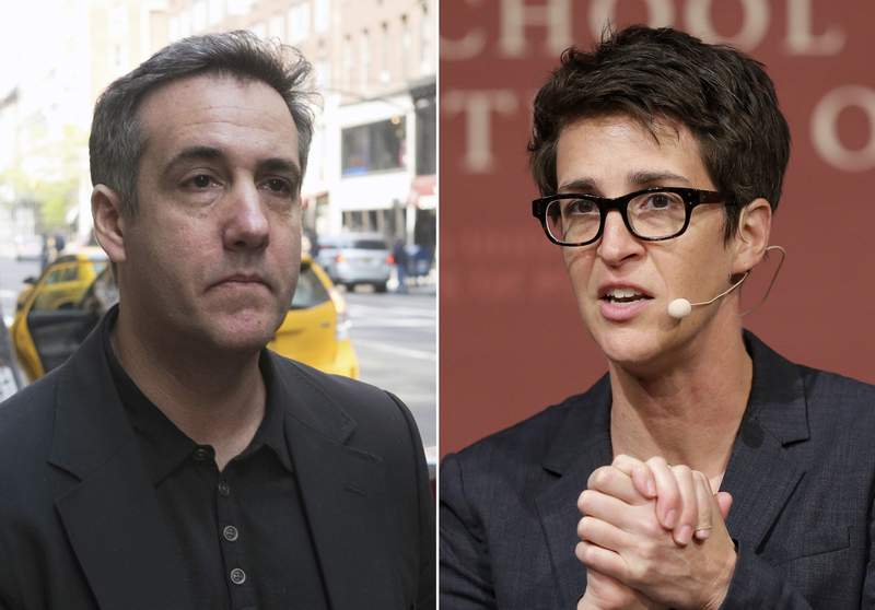 """In this combination photo, Michael Cohen, left, walks down Madison Avenue on May 4, 2019, in New York and MSNBC television anchor and host of """"The Rachel Maddow Show,"""" Rachel Maddow moderates a panel called """"Perspectives on National Security,"""" on Oct. 16, 2017 in Cambridge, Mass. Maddow's interview with former Trump attorney Michael Cohen this week reached the second-biggest audience of her program's history. It was second only to the night this summer when Maddow welcomed presidential niece Mary Trump for her tell-all book. (AP Photo)"""