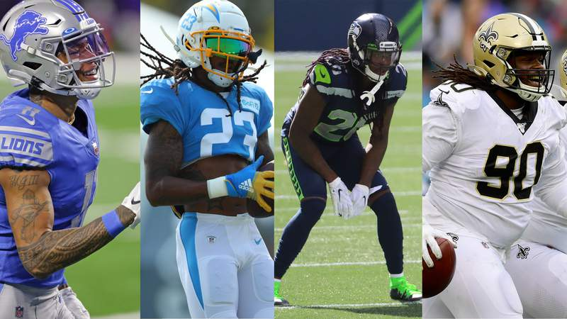 From left to right, Marvin Jones Jr., Rayshawn Jenkins, Shaquill Griffin and Malcom Brown are four of the 12 free agents that the Jaguars signed.