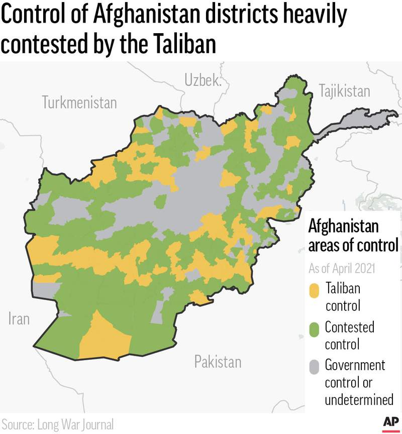 Map of Afghanistan shows which districts are controlled by the Taliban, contested or under government control