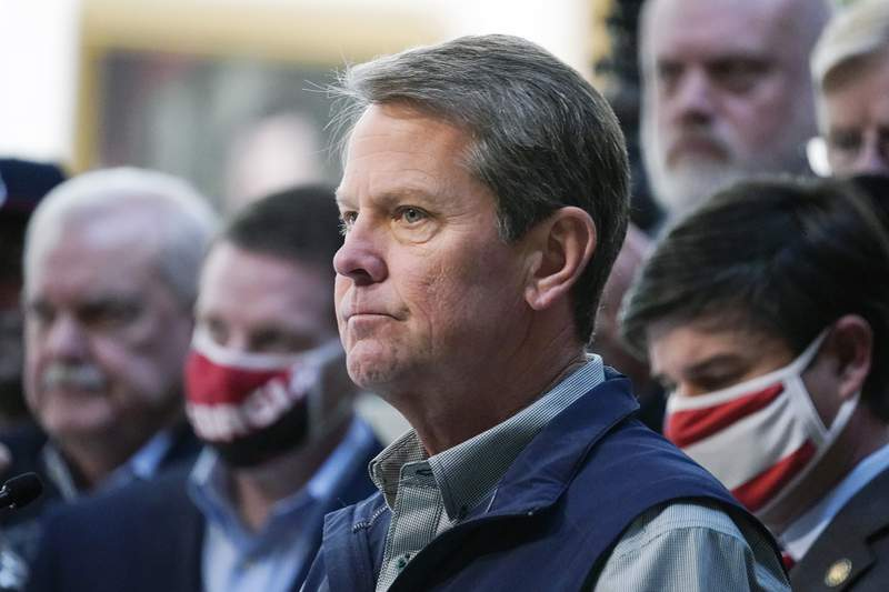 In this April 3, 2021 file photo, Georgia Gov. Brian Kemp speaks during a news conference at the State Capitol in Atlanta.