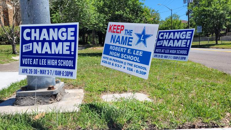 Dueling campaign signs posted at McDuff Avenue and Park Street in Jacksonville, Fla. on May 7, 2021.