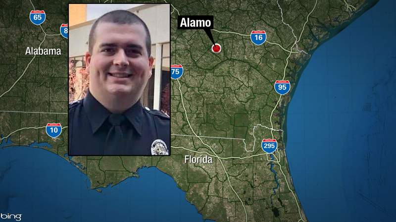 Telfair County Sheriff's Office photo of Officer Dylan Harrison on map showing Alamo, Georgia, where he was shot and killed in the line of duty Saturday.
