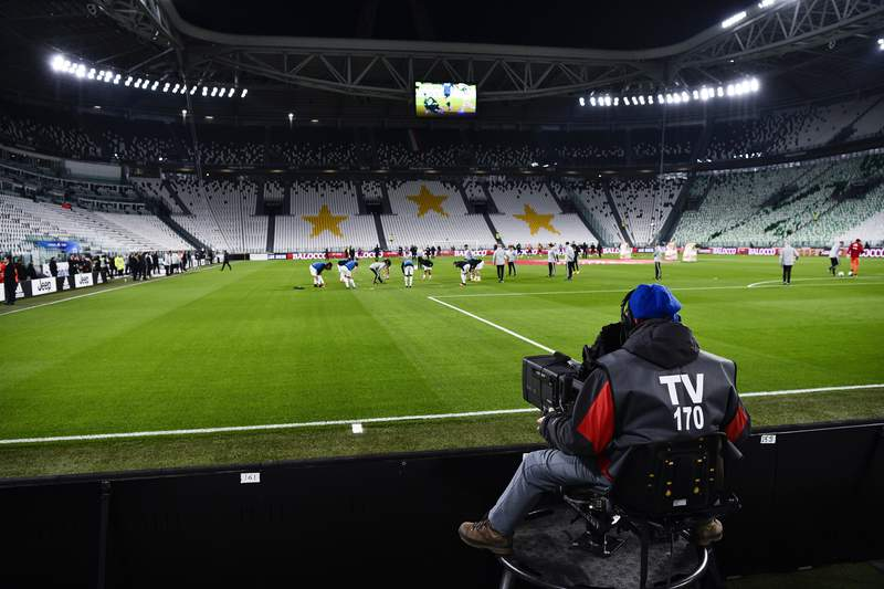 A view of the empty Juventus stadium, as a measure against coronavirus contagion, prior to the Serie A soccer match between Juventus and Inter, in Turin, Italy, Sunday, March 8, 2020. Serie A played on Sunday despite calls from Italys sports minister and players association president to suspend the games in Italys top soccer division. (Marco Alpozzi/LaPresse via AP)