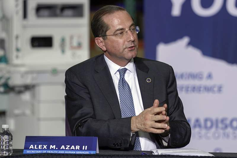 Health and Human Services Secretary Alex Azar speaks during a visit to the GE Healthcare manufacturing facility Tuesday April 21, 2020, in Madison, Wis. (AP Photo/Morry Gash)