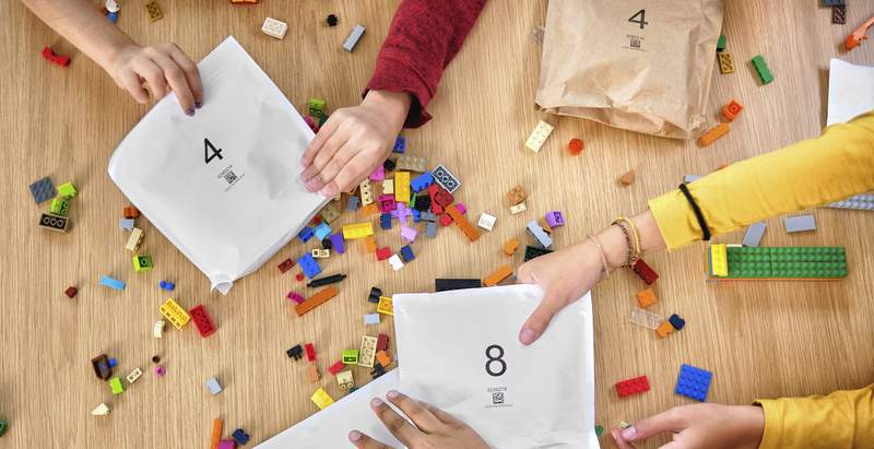 In an image provided by Lego, colorful toy Lego bricks are seen. Lego said Tuesday, Sept. 15, 2020, that it will stop using plastic bags inside its boxed sets and replace them with paper ones. (Allan Ringgaard/Courtesy of Lego via AP)