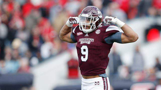 Montez Sweat #9 of the Mississippi State Bulldogs reacts after a tackle for loss against the Louisville Cardinals during the TaxSlayer Bowl at EverBank Field on December 30, 2017 in Jacksonville, Florida. The Bulldogs won 31-27. (Photo by Joe Robbins/Getty Images)
