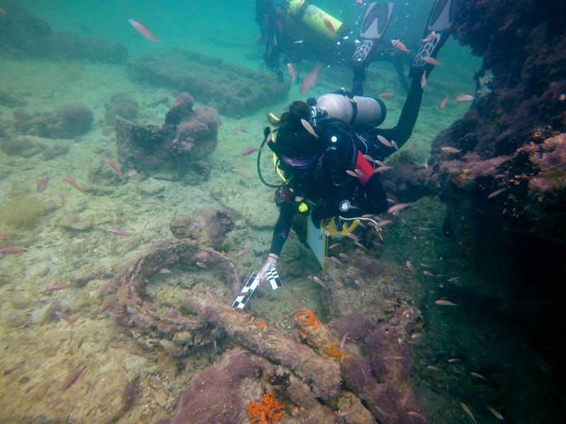 """This July 24, 2017 photo released by Mexico's National Institute of Anthropology and History (INAH) on Sept. 15, 2020, shows what the INAH says is a detail of the iron skylight from the bow area of the Mayan slave ship """"La Union,"""" off Sisal, in the Yucatan peninsula, Mexico. Archaeologists in Mexico say the ship had been used to take Mayan Indigenous people from Mexico, captured during and 1847-1901 rebellion known as The War of the Castes, to work in sugarcane fields in Cuba. The La Unin was on a trip to Havana in September 1861 when its boilers exploded and it sank off the once-important Yucatan port of Sisal. (Helena Barba/INAH via AP)"""