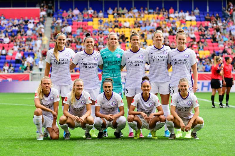 HARRISON, NJ - SEPTEMBER 29: Orlando Pride starting XI during a game between Orlando Pride and Sky Blue FC at Red Bull Arena on September 29, 2019 in Harrison, New Jersey. (Photo by Howard Smith/ISI Photos/Getty Images)