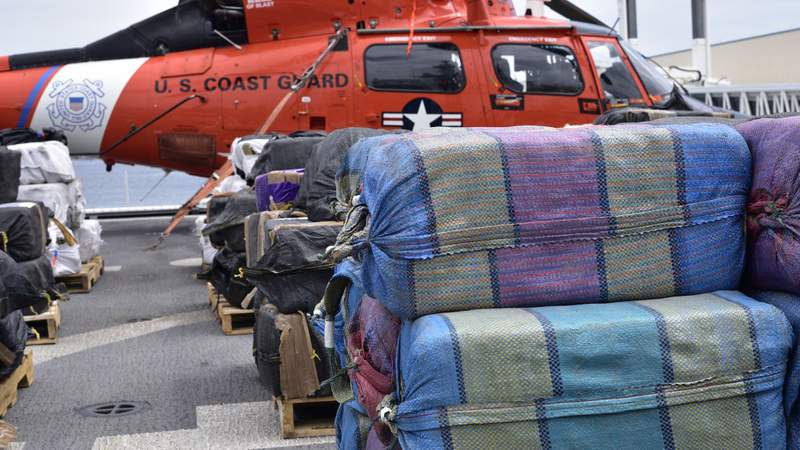 The Coast Guard Cutter James crew offloaded approximately 23,000 pounds of cocaine and approximately 6,900 pounds of marijuana, all worth more than an estimated $408 million, Tuesday in Port Everglades.