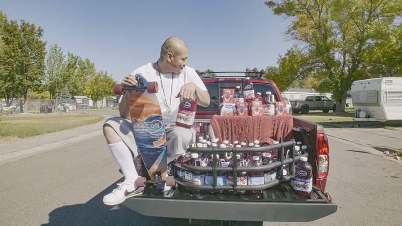 Nathan Apodaca, aka @420doggface208 on his new truck. (Ocean Spray)