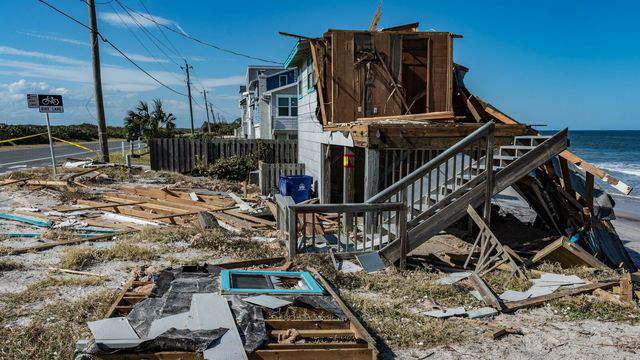 Irma wreaked havoc Monday, Sept. 11, 2017, on beachfront property in Vilano Beach, damaging several homes and leaving one resting on its side on the beach. (Photo: Jerry McGovern/WJXT)