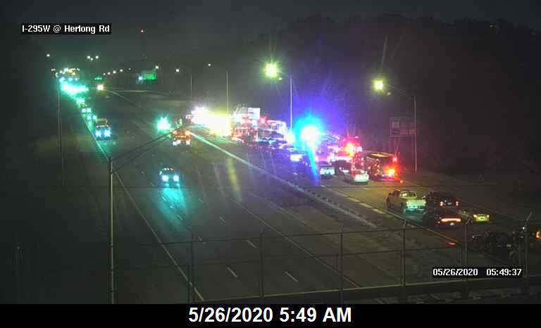 Florida Department of Transportation traffic cameras show the scene just before 6 a.m.