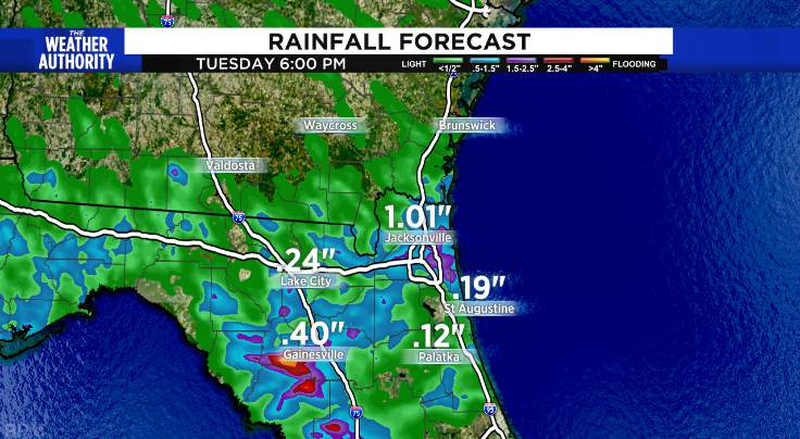 Heavy rain possible again this evening in Jacksonville.