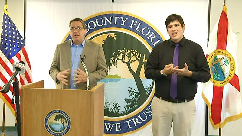 John Ward and sign language interpreter at Clay County emergency management briefing on Wednesday.