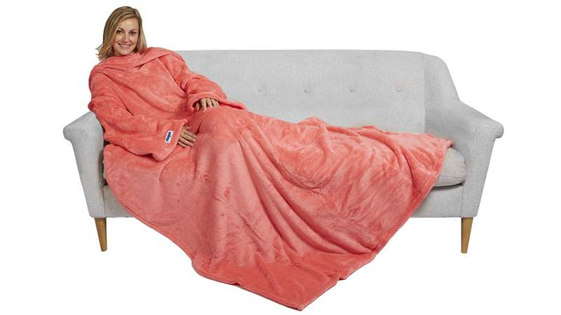 This plush fleece lightweight blanket keeps your arms and feet warm.