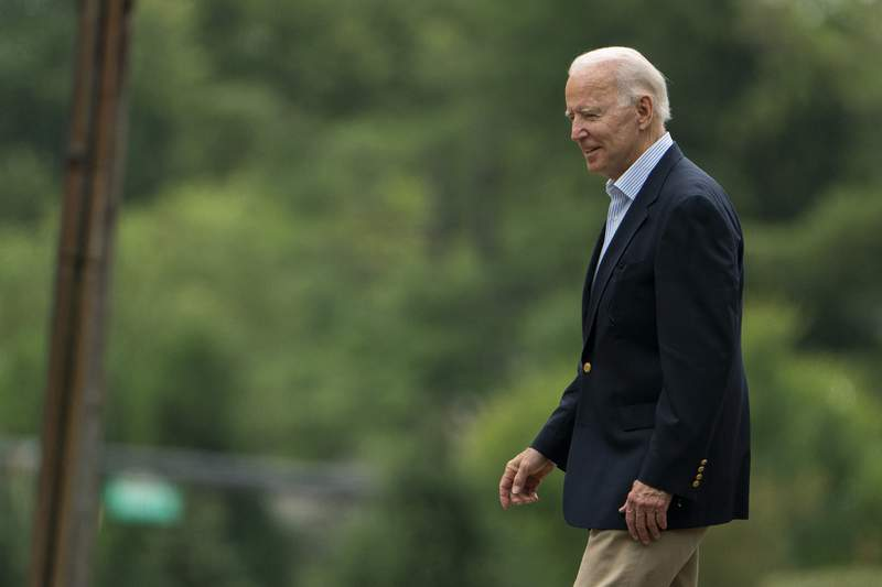 President Joe Biden leaves St. Joseph on the Brandywine Catholic Church in Wilmington, Del., after attending a Mass, Saturday, Aug. 7, 2021. Biden is spending the weekend at his home in Delaware. (AP Photo/Manuel Balce Ceneta)