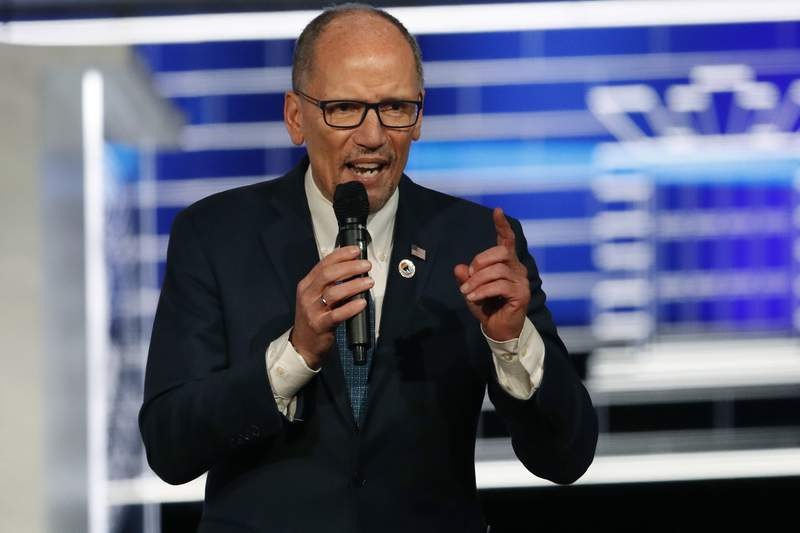 FILE - In This Nov. 20, 2019, file photo, Chair of the Democratic National Committee, Tom Perez, speaks before a Democratic presidential primary debate, in Atlanta. The Nevada caucuses pose a new test for Democratic National Committee Chairman Tom Perez, as the Democratic party leader tries to keep a messy primary season from devolving into chaos. Perez predicts a smoother process Saturday than the Feb. 3 debacle in the Iowa caucuses, where results have yet to be certified. But Perez warns that the Nevada caucuses are just the next step in what could be a long, bruising primary season. (AP Photo/John Bazemore, File)
