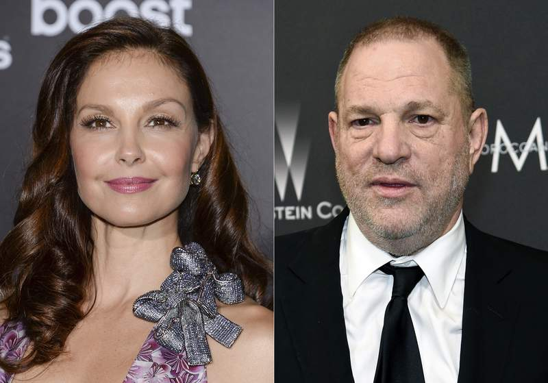 """Ashley Judd attends the premiere of """"The Divergent Series: Insurgent"""" in New York on March 16, 2015, left, and film producer Harvey Weinstein arrives at The Weinstein Company and Netflix Golden Globes afterparty in Beverly Hills, Calif. on March 16, 2015. A federal appeals court on Wednesday revived Judds sexual harassment lawsuit against Weinstein. The 9th U.S. Circuit Court of appeal found that the producer had power over the actor that should make her able to sue under a California sexual harassment law. (AP Photo)"""
