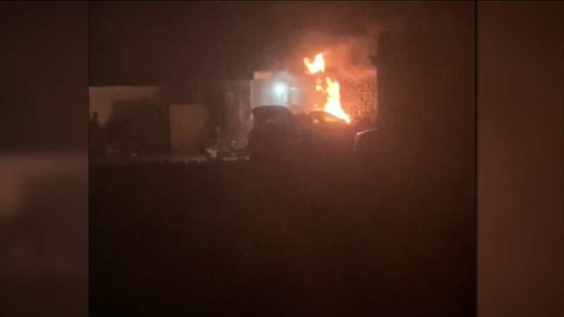 Crash causes house fire