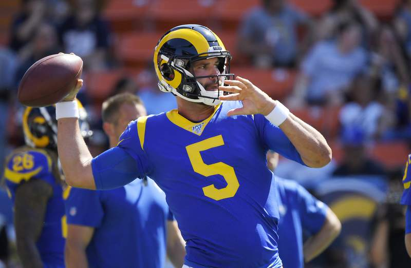 FILE - In this Saturday, Aug. 17, 2019 file photo, Los Angeles Rams quarterback Blake Bortles throws prior to a preseason NFL football game against the Dallas Cowboys in Honolulu. The Green Bay Packers have signed Blake Bortles as they attempt to add quarterback depth while reigning MVP Aaron Rodgers future with the team remains uncertain, Thursday, May 13, 2021. (AP Photo/Mark J. Terrill, File)
