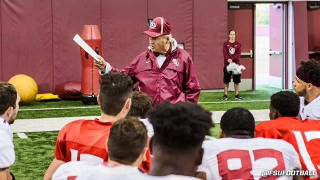 Former Seminoles head coach Bobby Bowden returned to practice for the first time since he retired 8 years ago. (photo courtesy @fsufootball)