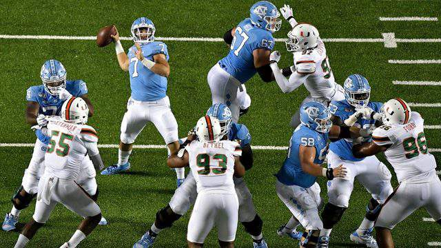 North Carolina Tar Heels quarterback Sam Howell drops back to pass against the Miami Hurricanes during the first half at Kenan Stadium on Sept. 07, 2019 in Chapel Hill, North Carolina.
