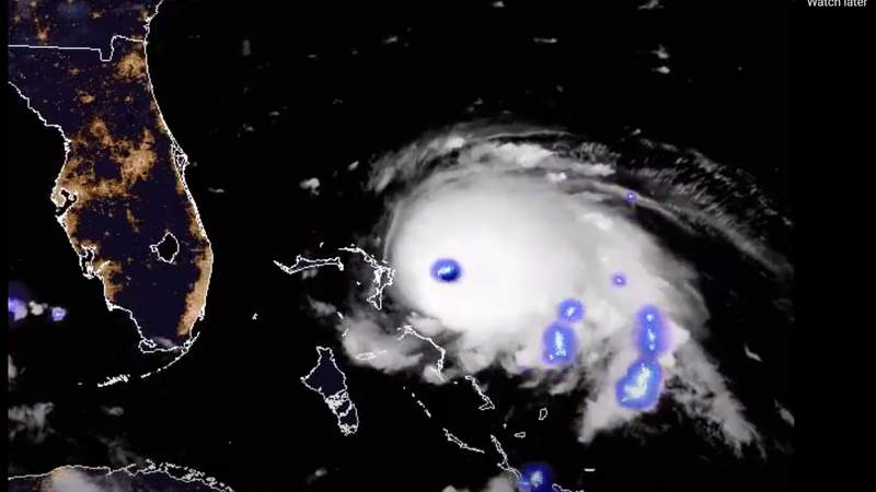 GOES-16 (GOES East) spotted lightning in the eye of Hurricane Dorian the morning of September 1, 2019. Researchers have shown that the amount of lightning in the inner core and outer rainbands can indicate whether a storm will rapidly intensify.