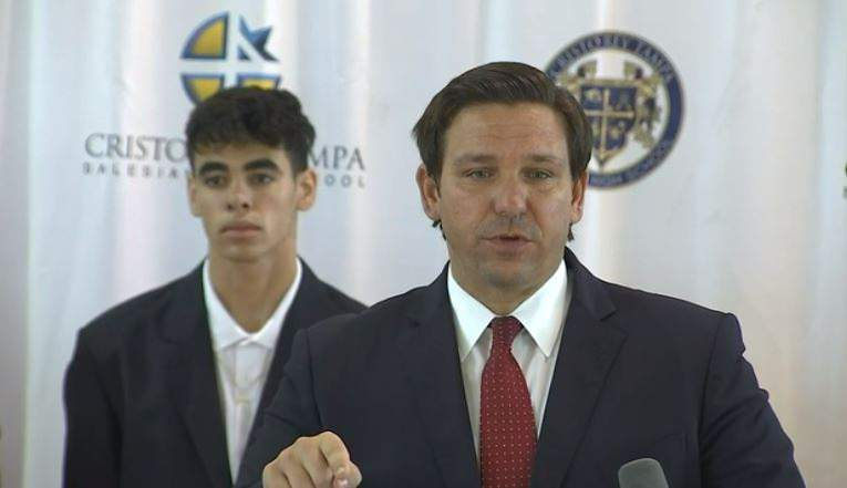 Gov. Ron DeSantis during a press conference in Tampa.