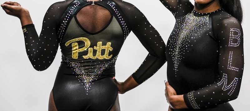 """This image provided by Pitt Athletics show the university's new gymnastics uniform. The social justice movement in college athletics has popped up in most unusual place: gymnastics. From UCLA to Pittsburgh, Black gymnasts and the programs they represent are using their platform to empower and uplift. On Sunday, Pitt will wear """"Black Lives Matter"""" leotards during their meet with Temple, a highly visible part of the program's """"Until We Unite"""" campaign. (Justin M. Pondexter/Pitt Athletics via AP)"""