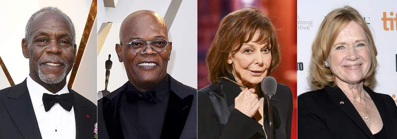 This combination of photos shows Danny Glover, from left, Samuel L. Jackson, Elaine May and Liv Ullmannm who will be honored at the 12th Governors Awards in January. The Academy Awards will present May, Jackson and Ullmann with honorary Oscars and Glover with the Jean Hersholt Humanitarian Award. (AP Photo)