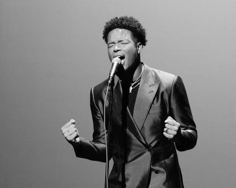 Jaguars receiver Marvin Jones Jr. sings his rendition of 'Lift Ev'ry Voice and Sing' during a session at the Ritz Theater.