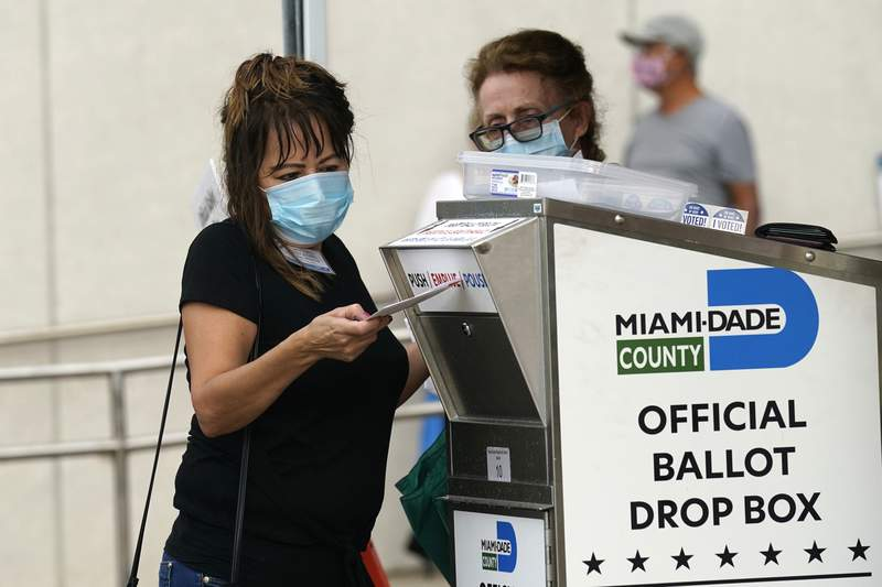 FILE - An election worker places a vote-by-mail ballot into an official ballot drop box outside of an early voting site, Monday, Oct. 19, 2020, in Miami. (AP Photo/Lynne Sladky)