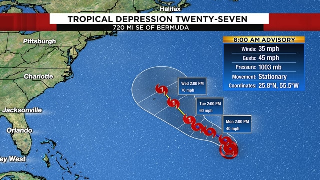 New tropical depression forms, expected to grow and target Bermuda
