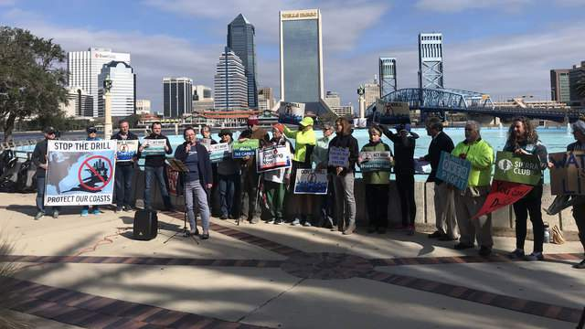 Anti-fracking activists gathered in Downtown Jacksonville Saturday