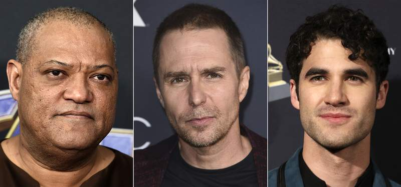 This combination of photos shows, from left, Laurence Fishburne, Sam Rockwell and Darren Criss, who will star in a revival of David Mamets American Buffalo. Previews begin the week of March 22, 2022 with an opening on April 14, 2022 at the Circle in the Square Theatre in New York. (AP Photo)