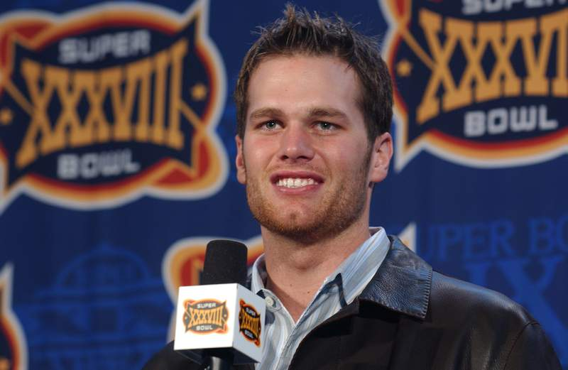 Tom Brady accepting The Pete Rozelle Trophy, Most Valuable Player.