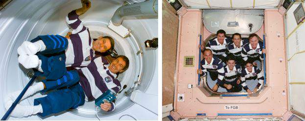 Left: Cabana (left) and Krikalev (right) about to open the hatch to enter Zarya for the first time. Right: The STS-88 crew pose in the Unity hatch leading to Zarya. (Image: NASA)
