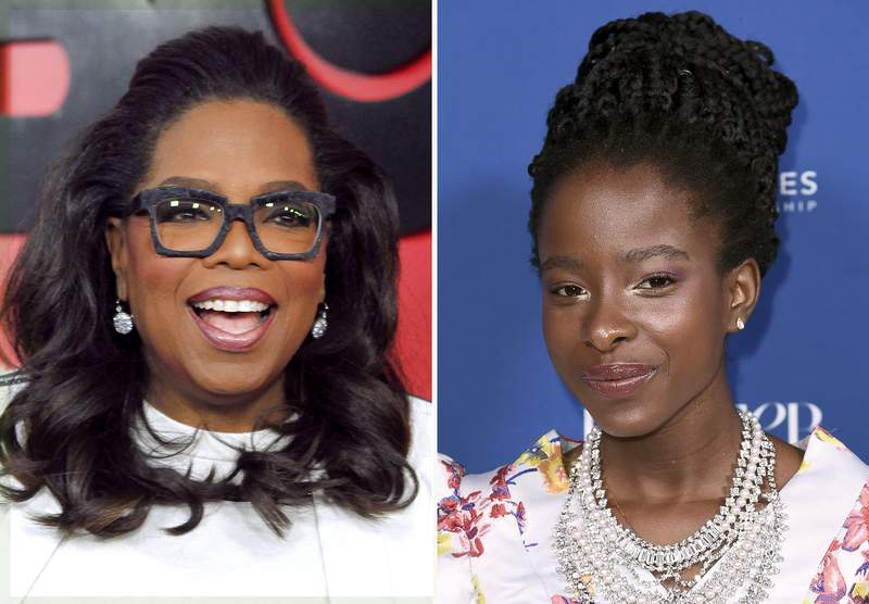 """In this combination photo, Oprah Winfrey, left, attends the premiere of """"The Immortal Life of Henrietta Lacks"""" on April 18, 2017, in New York and Amanda Gorman attends Porter's 3rd annual Incredible Women Gala on Oct. 9, 2018, in Los Angeles. Gorman revisits her inaugural poem that wowed observers, among them Oprah Winfrey, in the Apple TV+ series """"The Oprah Conversation."""" The interview will be released Friday, March 26, 2021, on the streaming service. (Photo by Andy Kropa/Invision/AP, left, and Richard Shotwell/Invision/AP, File)"""