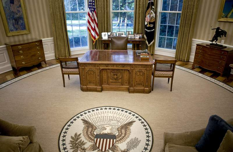Oval Office of the White House in Washington, D.C. (Photo by Brendan Smialowski-Pool/Getty Images)