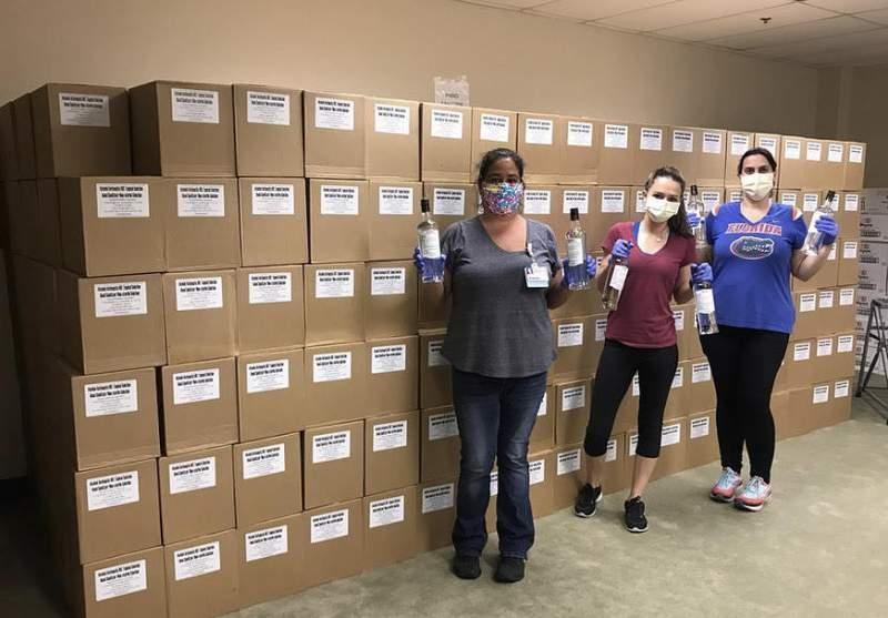 Bacardi Bottling Corporation in Jacksonville donated 700 cases of hand sanitizer to Baptist Health