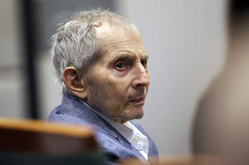 FILE - In this March 10, 2020, file photo, real estate heir Robert Durst looks over during his murder trial in Los Angeles. Durst, the multimillionaire real estate heir on trial in the killing of his best friend, was hospitalized Thursday, June 10, 2021,  for an unspecified health issue, according to the judge in the long-delayed trial. (AP Photo/Alex Gallardo, Pool, File)