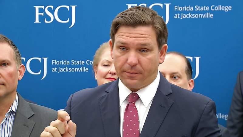 Gov. Ron DeSantis speaking at Florida State College at Jacksonville.