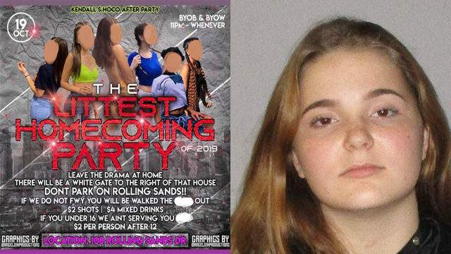 The homecoming after party flyer posted to Instagram and Kendall Morgan, 18.