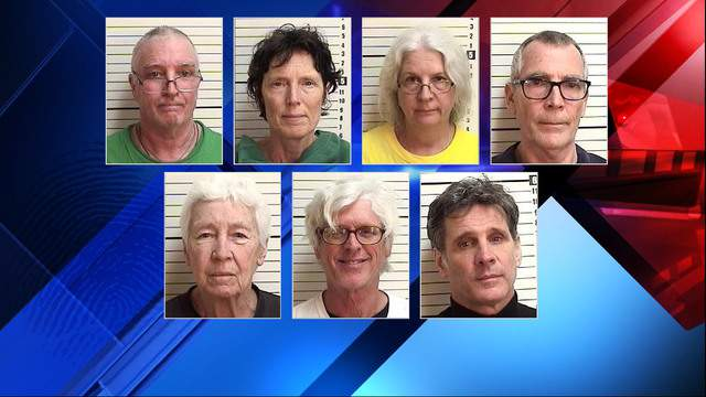 Mug shots of seven activists arrested on Kings Bay Submarine Base.