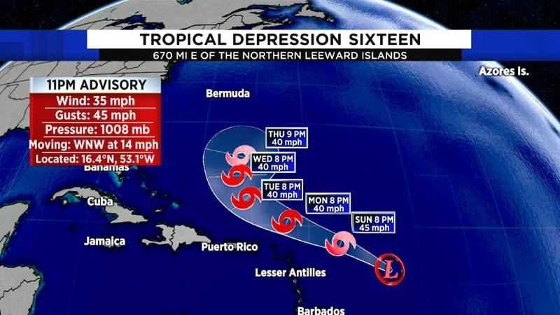 NHC Tropical Depression Sixteen Track