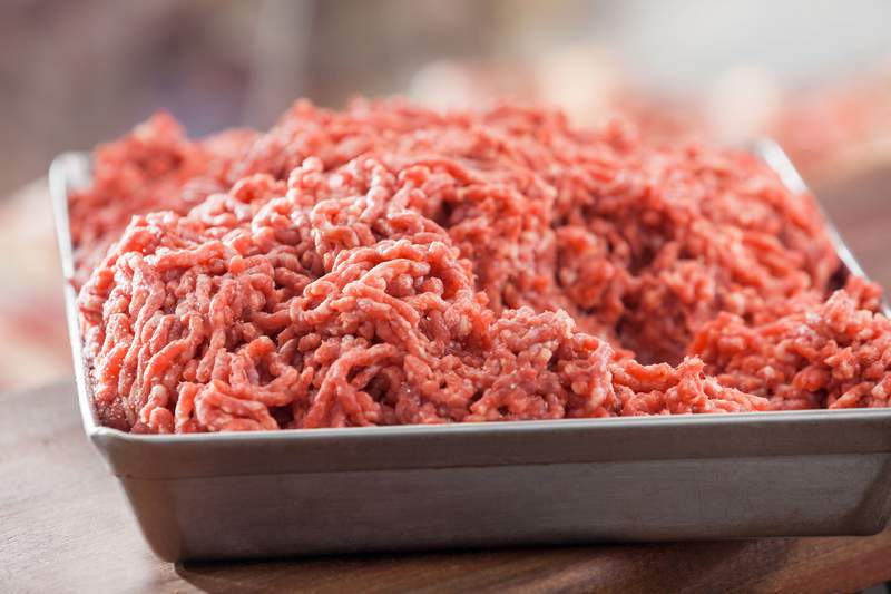 A tray of ground beef