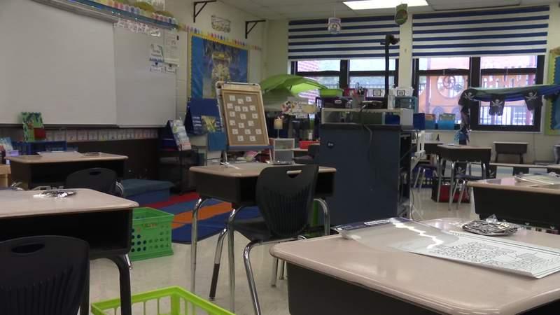 An empty Duval County Public Schools elementary classroom